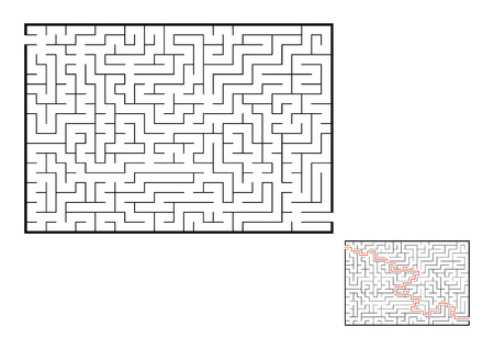 Abstract rectangular maze. Game for kids. Puzzle for children. One entrance, one exit. Labyrinth conundrum. Flat vector illustration isolated on white background. With answer. Illustration