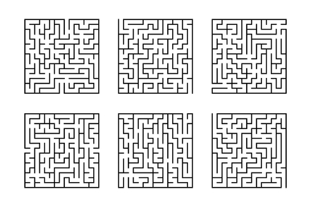 A set of square mazes. Game for kids. Puzzle for children. Labyrinth conundrum. Flat vector illustration isolated on white background.  イラスト・ベクター素材