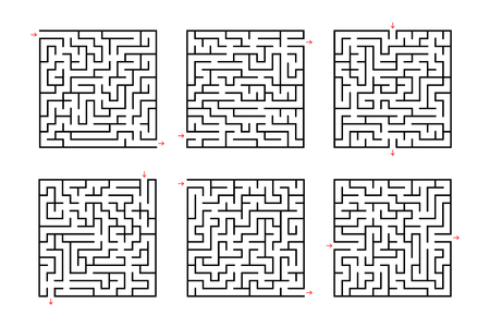 A set of square mazes. Game for kids. Puzzle for children. Labyrinth conundrum. Flat vector illustration isolated on white background.