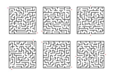 Een reeks vierkante doolhoven. Spel voor kinderen. Puzzel voor kinderen. Labyrint raadsel. Platte vectorillustratie geïsoleerd op een witte achtergrond.