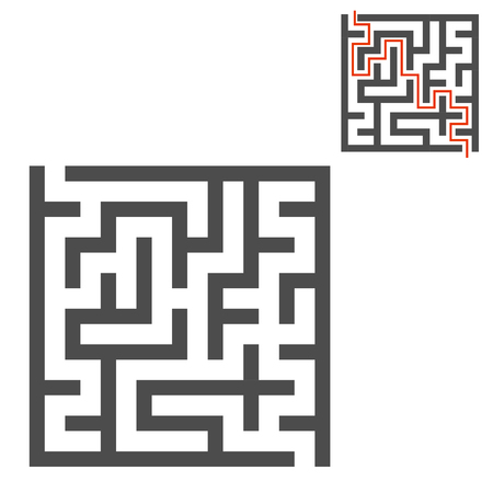 Abstract square maze. Game for kids. Puzzle for children. One entrance, one exit. Labyrinth conundrum. Flat vector illustration isolated on white background. With answer. Ilustração