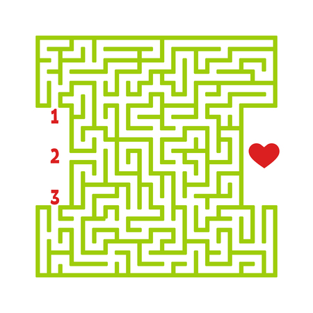 Color square maze. Game for kids. Puzzle for children. Find the right path to the heart. Labyrinth conundrum. Flat vector illustration isolated on white background Vektorové ilustrace
