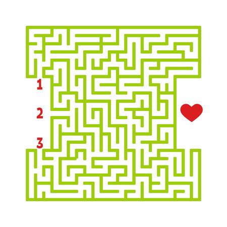 Farbe quadratisches Labyrinth. Spiel für Kinder. Puzzle für Kinder. Finden Sie den richtigen Weg zum Herzen. Rätsel des Labyrinths. Flache Vektorillustration lokalisiert auf weißem Hintergrund Vektorgrafik
