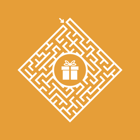 Color diamond shaped labyrinth. Game for kids. Puzzle for children. Find the right path to the gift. Labyrinth conundrum. Flat vector illustration isolated on color background.