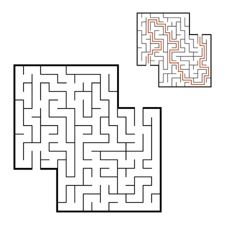 Abstract square maze. Game for kids. Puzzle for children. Labyrinth conundrum. Flat vector illustration isolated on white background. With answer. With place for your image