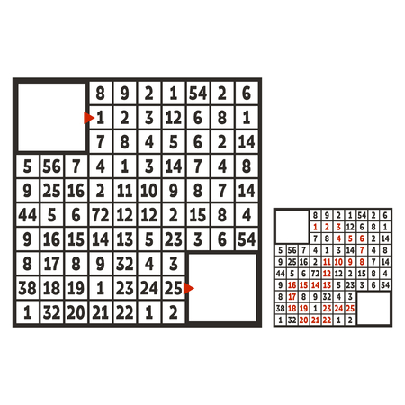 Mathematical square maze. Game for kids. Puzzle for children. The study of numbers. Labyrinth conundrum. Flat vector illustration isolated on white background. With answer. With place for your image Çizim