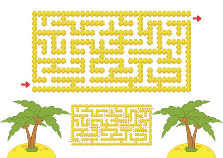 Color rectangular maze. Yellow beach with palm trees in cartoon style. Game for kids. Puzzle for children. Labyrinth conundrum. Flat vector illustration isolated on white background. With the answer