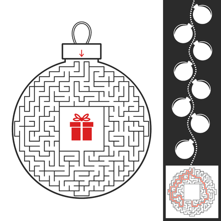 Maze Christmas toy. Game for kids. Puzzle for children. Find the path to the gift. Labyrinth conundrum. Flat vector illustration isolated on white background. With the answer Illustration
