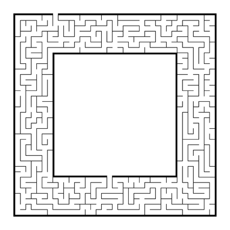 Difficult square labyrinth frame. Game for kids and adults. Puzzle for children. One entrance, one exit. Labyrinth conundrum. Flat vector illustration. With place for your image