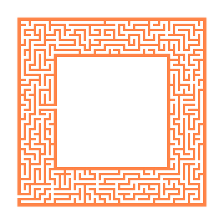 Sophisticated color square maze frame. Game for kids and adults. Puzzle for children. One entrance, one exit. Labyrinth conundrum. Flat vector illustration. With place for your image