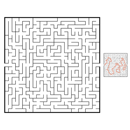 Abstract square maze. Game for kids. Puzzle for children. Labyrinth conundrum. Black flat vector illustration isolated on white background. With answer Ilustração