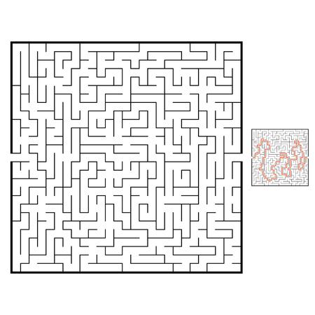 Labirinto quadrato astratto. Gioco per bambini. Puzzle per bambini. Enigma del labirinto. Illustrazione di vettore piatto nero isolato su priorità bassa bianca. Con risposta