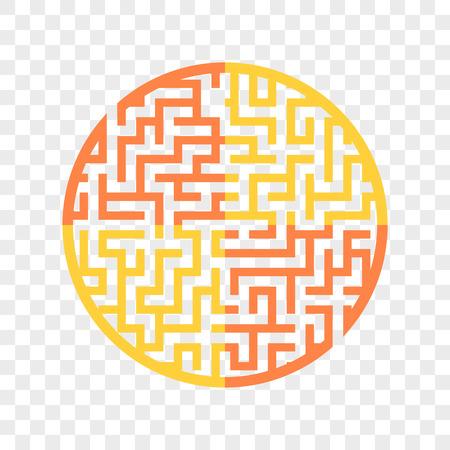 Color round maze. Painted in different colors. Game for kids and adults. Puzzle for children. Labyrinth conundrum. Flat vector illustration isolated on transparent background