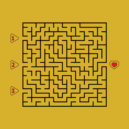 Abstract square maze. Game for kids. Puzzle for children. Find the right path to the heart. Labyrinth conundrum. Flat vector illustration isolated on white background. Illustration