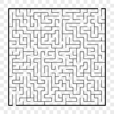 Abstract square maze. Game for kids. Puzzle for children.Labyrinth conundrum. Flat vector illustration isolated on transparent background