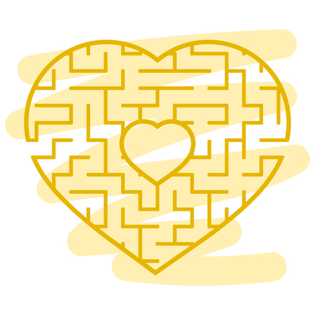 Color heart shaped labyrinth. Game for kids and adults. Puzzle for children. Labyrinth conundrum. Flat vector illustration isolated on white background. Love search concept