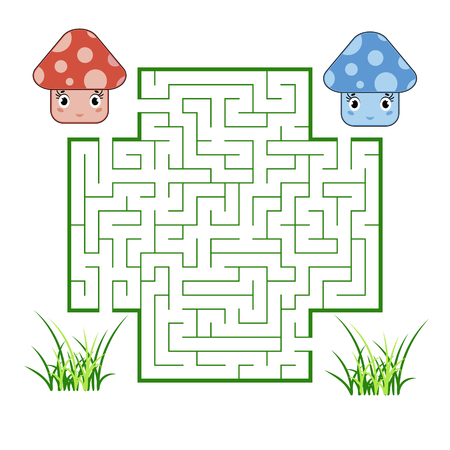 Color square maze. Game for kids. Puzzle for children. Help the cute mushrooms meet. Labyrinth conundrum. Flat vector illustration. Cartoon style Vettoriali
