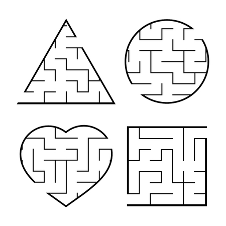 A set of easy mazes. Circle, square, triangle, heart. Game for kids. Puzzle for children. One entrances, one exit. Labyrinth conundrum. Flat vector illustration isolated on white background