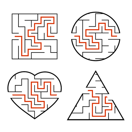 A set of mazes. Circle, square, triangle, heart. Game for kids. Puzzle for children. One entrances, one exit. Labyrinth conundrum. Flat vector illustration isolated on white background. With answer