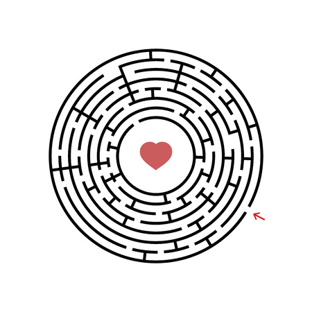 Black round labyrinth with entrance and exit. An interesting and useful game for children. Simple flat vector illustration isolated on white background Vettoriali