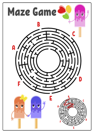 Abstract round maze. Kids worksheets. Activity page. Game puzzle for children. Cute cartoon ice cream. Labyrinth conundrum. Vector illustration. With answer. With space for your image Illustration