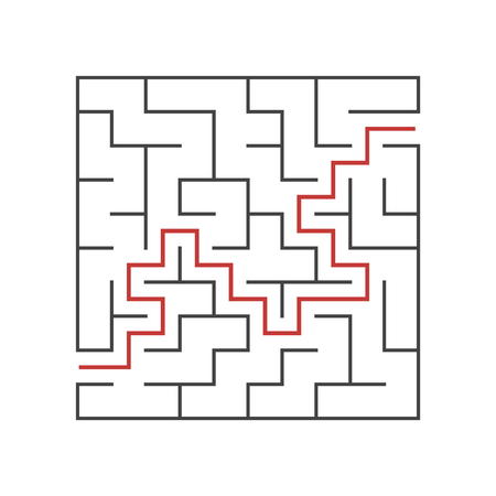 A square labyrinth for kids. The game is a mystery. A simple flat vector illustration on a white background. With the answer
