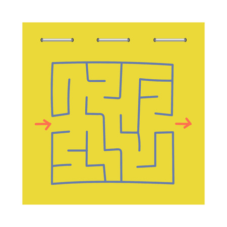 Square maze. Game for kids. Puzzle for children. Labyrinth conundrum. Flat vector illustration isolated on white background Illustration