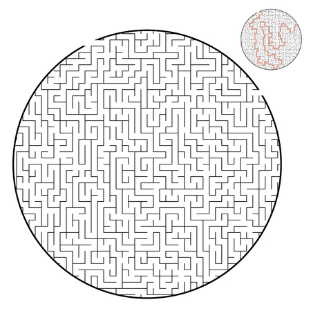 Difficult round labyrinth. Game for kids and adults. Puzzle for children. Labyrinth conundrum. Flat vector illustration isolated on white background. With answer