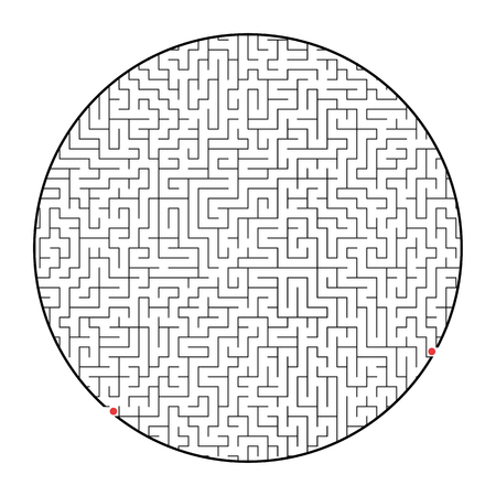 Difficult round labyrinth. Game for kids and adults. Puzzle for children. Labyrinth conundrum. Flat vector illustration isolated on white background