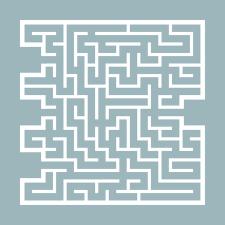 Abstract square maze. Game for kids. Puzzle for children. Find the right path. Labyrinth conundrum. Flat vector illustration isolated on color background Illustration