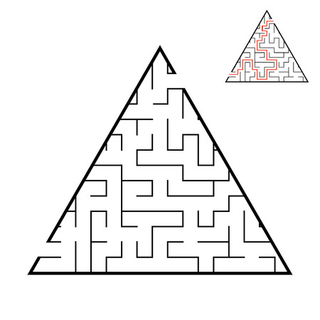 Abstract triangular labyrinth. Game for kids. Puzzle for children. One entrance, one exit. Labyrinth conundrum. Flat vector illustration isolated on white background. With answer