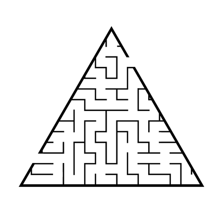 Abstract triangular labyrinth. Game for kids. Puzzle for children. One entrance, one exit. Labyrinth conundrum. Flat vector illustration isolated on white background Illustration