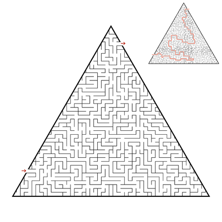 Difficult triangular labyrinth. Game for kids and adults. Puzzle for children. One entrance, one exit. Labyrinth conundrum. Flat vector illustration isolated on white background. With answer Illustration
