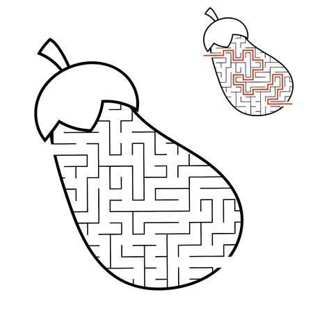 Berenjena laberinto. Juego para niños. Puzzle para niños. Estilo de dibujos animados. Enigma del laberinto. Ilustración de vector de blanco y negro. Con respuesta. El desarrollo del pensamiento lógico y espacial.