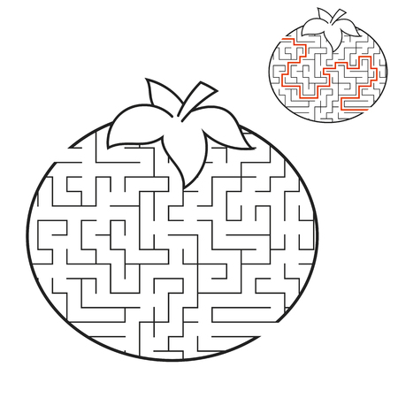 Maze Tomato. Game for kids. Puzzle for children. Cartoon style. Labyrinth conundrum. Black and white vector illustration. With answer. The development of logical and spatial thinking