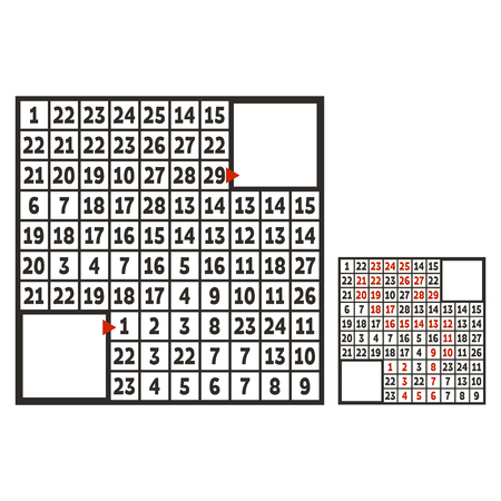Laberinto cuadrado matemático. Juego para niños. Puzzle para niños. El estudio de los números. Enigma del laberinto. Ilustración de vector plano aislado sobre fondo blanco. Con respuesta. Con lugar para tu imagen