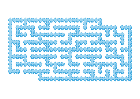 Color rectangular maze. Blue winter ice in cartoon style. Game for kids. Puzzle for children. Labyrinth conundrum. Flat vector illustration isolated on white background. With space for your drawings Çizim