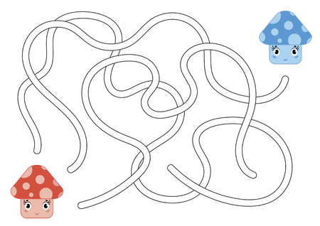 Color abstract maze. Help the red mushroom to reach the blue mushroom. Kids worksheets. Activity page. Game puzzle for children. Cartoon style. Labyrinth conundrum. Vector illustration