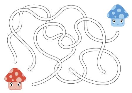 Labirinto astratto di colore. Aiuta il fungo rosso a raggiungere il fungo blu. Fogli di lavoro per bambini. Pagina delle attività. Puzzle di gioco per bambini. Stile cartone animato. Enigma del labirinto. Illustrazione vettoriale