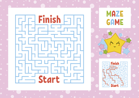 Color square maze. Find the right path from start to finish. Kids worksheets. Activity page. Game puzzle for children. Cute cartoon star. Labyrinth conundrum. Vector illustration. With answer