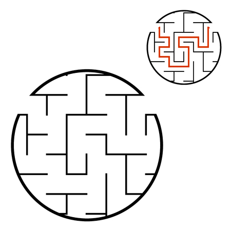 Abstract round maze. Game for kids. Puzzle for children. One entrance, one exit. Labyrinth conundrum. Flat vector illustration isolated on white background. With answer