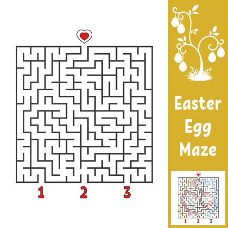 Black square labyrinth. Kids worksheets. Activity page. Game puzzle for children. Easter, egg, holiday. Find the right path to the heart. Maze conundrum. Vector illustration. With answer Illustration