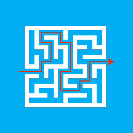 White square labyrinth on a colored background. Business decision. Activity page. Game puzzle. Find the right path. Maze conundrum. Vector illustration for the magazine