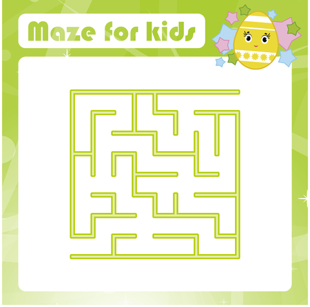 Color square labyrinth. Kids worksheets. Activity page. Game puzzle for children. Easter, egg, holiday. Find the right path. Maze conundrum. Vector illustration