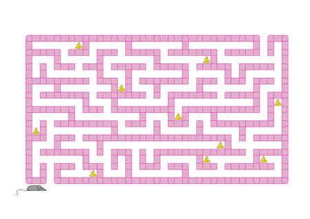 Colored rectangular labyrinth. Help the mouse to collect all the cheese. Game for kids. Puzzle for children. Maze conundrum. Flat vector illustration isolated on white background Illustration