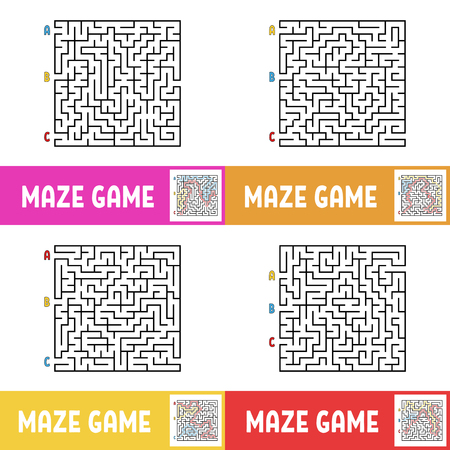 A set of mazes. Game for kids. Puzzle for children. Maze conundrum. Cartoon style. Visual worksheets. Activity page. Color vector illustration