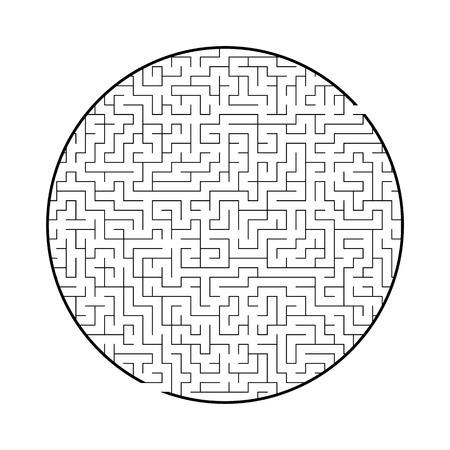 Difficult big round labyrinth. Game for kids and adults. Puzzle for children. Labyrinth conundrum. Flat vector illustration isolated on white background
