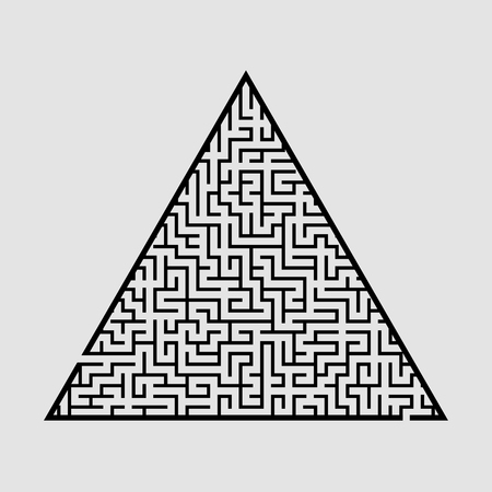 Complicated large triangular labyrinth. Game for kids and adults. Puzzle for children. Labyrinth conundrum. Flat vector illustration isolated on grey background Çizim