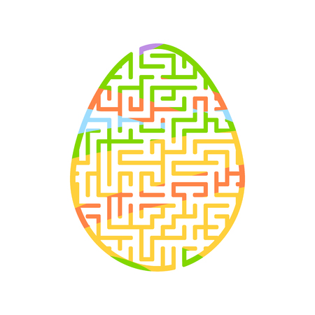 Maze easter egg. Game for kids. Puzzle for children. Cartoon style. Labyrinth conundrum. Color vector illustration. The development of logical and spatial thinking