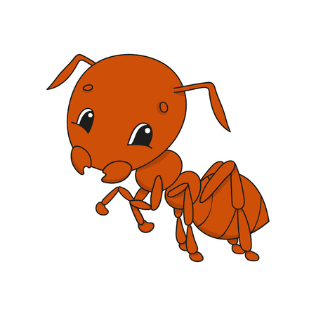 Brown ant. Cute flat vector illustration in childish cartoon style. Funny character. Isolated on white background